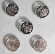 5 Silbermünzen, 10 Euro, 2008, BRD, PP, 150. Geburtstag Max Planck, Münzen in Kapsel.