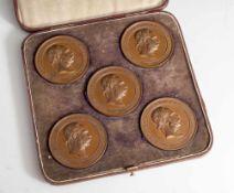 Etui mit 5 Medaillen der Weltausstellung Wien 1873, vorderseitig je Porträt Franz Joseph I., je