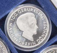 5 Silbermünzen, 10 Euro, 2009, BRD, PP, 100. Geburtstag Marion Gräfin Dönhoff, Münzen in Kapsel.
