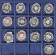13 Silbermünzen, 10 Euro, 2004, BRD, PP, FIFA Fussball Weltmeisterschaft Deutschland 2006, Münzen in