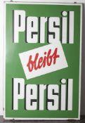 """Altes Email-Reklameschild """"Persil bleibt Persil"""", li. u. bez. Ferro-Email, re. u. Hersteller ("""