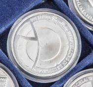 5 Silbermünzen, 10 Euro, 2010, BRD, PP, 300 Jahre Porzellan Herstellung in Deutschland, Münzen in