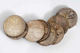 8 Silbermünzen, Silberadler 5 DM, BRD, verschiedene Ausführungen.