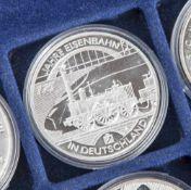 5 Silbermünzen, 10 Euro, 2010, BRD, PP, 175 Jahre Eisenbahn in Deutschland, Münzen in Kapsel.