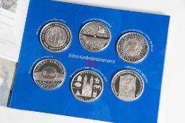 6 Silber-Gedenkmünzen, 10 Euro, 2005, Bundesrepublik Deutschland, PP, darunter FIFA-Fussball-WM