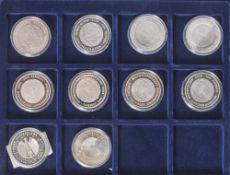 10 Silbermünzen, 10 Euro, 2006, BRD, PP, FIFA Fussball Weltmeisterschaft Deutschland 2006, Münzen in