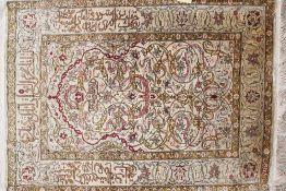 Antiker Hereke-Seidenteppich vor 1912, osmanisch, florales Muster, farbig gefasst, li. u.