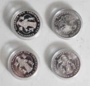 4 Silbermünzen, 10 Euro, 2007, BRD, PP, 800. Geburtstag Elisabeth von Thüringen, Münzen in Kapsel.