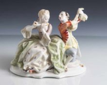 Figurengruppe, musizierendes Paar, Hutschenreuther, grüne Löwenmarke, Selb Germany Kunstabteilung US