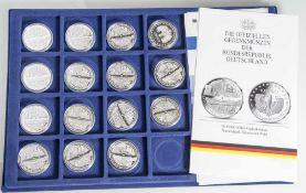 15 Silbermünzen, 10 Euro, 2005, BRD, PP, Nationalpark Bayerischer Wald, Münzen in Kapsel und