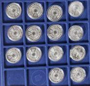14 Silbermünzen, 10 Euro, 2004, BRD, PP, Erweiterung der Europäischen Union, Münzen in Kapsel und