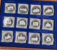 Konvolut von 16 Silbermünzen, Währungsunion Europa, PP, Münzen jeweils in Kapseln und in Holzkiste
