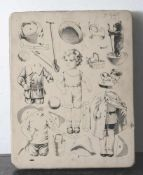 Schöner Lithostein, 19. Jahrhundert, Schnittbogen für Puppen/Anziehpuppen. Ca. 46 x 36 cm, am Rand