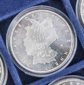5 Silbermünzen, 10 Euro, 2010, BRD, PP, 20 Jahre Deutsche Einheit, Münzen in Kapsel.