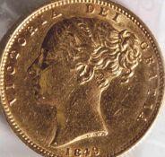 1 Sovereign, Gold 1849, England, Victoria.