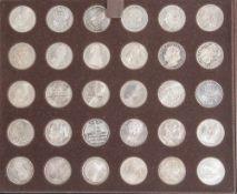 Konvolut von 60 Sondermünzen, 5 DM, BRD, darunter Friedrich von Schiller (1955), von Eichendorff (