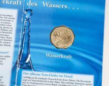 """Silbermünze, 5 Euro, 2003, Österreich, """"Wasserkraft"""" HGH, in Original-Sammelmappe."""