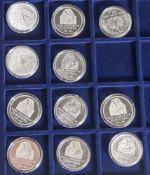 11 Silbermünzen, 10 Euro, 2006, BRD, PP, Karl Friedrich Schinkel 1781-1841, Münzen in Kapsel und