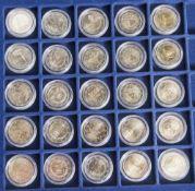 Konvolut von 25 Münzen, 2 Euro, 2008, Stempelglanz, div. Länder u. Motive, Münzen jew. in Kapseln u.