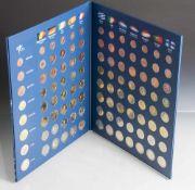 Euro-Münzen-Komplettsatz aller 12 Länder, im Album.