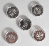 5 Silbermünzen, 10 Euro, 2008, BRD, PP, 50 Jahre Gorch Fock, Münzen in Kapsel.
