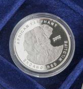 Silbermünze, 500 Sika, Ghana, 2002, PP, African Elephant, Münze in Kapsel.