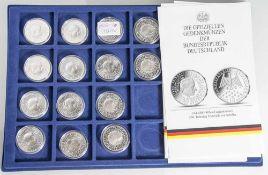 14 Silbermünzen, 10 Euro, 2005, BRD, PP, 200. Todestag Friedrich von Schiller, Münzen in Kapsel