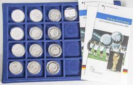 13 Silbermünzen, 10 Euro, 2006, BRD, PP, FIFA Fussball Weltmeisterschaft Deutschland, Münzen in