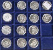 14 Silbermünzen, 10 Euro, 2006, BRD, PP, Wolfgang Amadeus Mozart 1756-1791, Münzen in Kapsel und