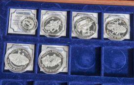 Konvolut von 6 Silbermünzen, Fußball WM 2006, PP, Münzen jeweils in Kapseln und in Holzkiste mit