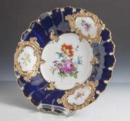 Prunkschale, Meissen, blaue Schwertermarke (2 Schleifstriche), Porzellan, im Spiegel polychromes