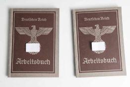 2 Arbeitsbücher, Deutsches Reich, je ausgestellt am 29. Januar 1941, Arbeitsamt Mainz.
