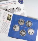 6 Silber-Gedenkmünzenset, 10 Euro, 2008, Bundesrepublik Deutschland, PP, darunter 200. Geburtstag