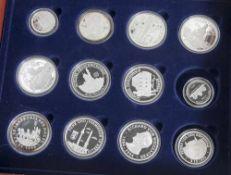 Konvolut von 12 Silbermünzen, Deutsche Einheit, versch. Motive u.a. das Frauenkirche Dresden,