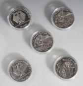 5 Silbermünzen, 10 Euro, 2010, BRD, PP, FIS-Alpine Ski WM Garmisch-Partenkirchen 2011, Münzen in