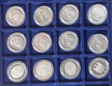 12 Silbermünzen, 10 Euro, 2004, BRD, PP, 200. Geburtstag des Dichters Eduard Mörike, Münzen in