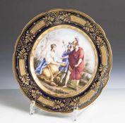 """Prunkteller """"Melanie mit den Rittern"""", Alt Wien, 19. Jahrhundert, auf Unterboden blaue"""