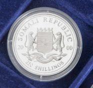 Silbermünze, 250 Shillings, Somalien, 2000, PP, Wildlife of Africa Rhinoceros, Münze in Kapsel.