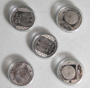 5 Silbermünzen, 10 Euro, 2008, BRD, PP, Himmelsscheibe von Nebra, Münzen in Kapsel.