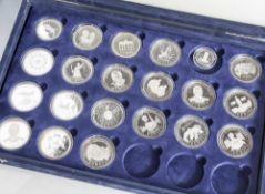 Konvolut von 21 Silbermünzen, Europäische Union, versch. Motive u.a. Schengener Abkommen, die Europ.