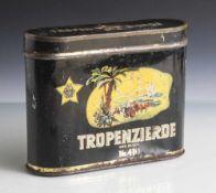 Zigarrendose, Blech, Tropenzierde Nr. 410 eine Engelhardt-Zigarre, schwarz mit coloriertem