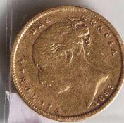1/2 Sovereign, Gold, 1883, England, Victoria.