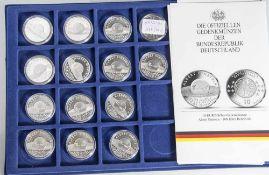 14 Silbermünzen, 10 Euro, 2005, BRD, PP, Albert Einstein - 100 Jahre Relativität, Münzen in Kapsel