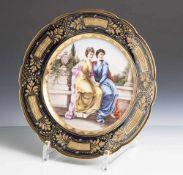 """Prunkteller """"Florendis"""", Alt Wien, 19. Jahrhundert, auf Unterboden blaue Bienenkorbmarke sowie"""