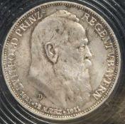 1 Münze, 3 Mark, Luitpold und Bayern, 1911 D.