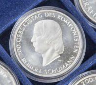5 Silbermünzen, 10 Euro, 2010, BRD, PP, 200. Geburtstag des Komponisten Robert Schumann, Münzen in