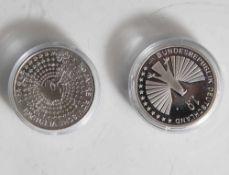 2 Silbermünzen, 10 Euro, 2007, BRD, PP, 50 Jahre Römische Verträge, Münzen in Kapsel.
