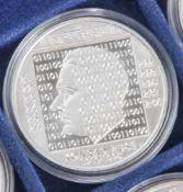 5 Silbermünzen, 10 Euro, 2010, BRD, PP, Konrad Zuse, Münzen in Kapsel.