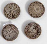 4 Münzen, Satz Silberadler, 5 DM, BRD, 1951 G J F D.