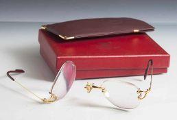 """Brillengestell, Cartier, wohl Silber vergoldet, auf Innenseite des Bügels bez. """"Cartier Paris Made"""